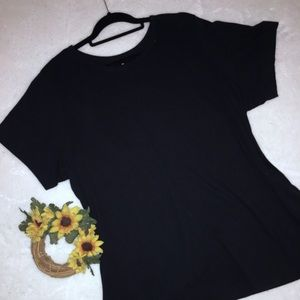 WOMAN WITHIN Sz 2X Solid Black Perfect Top ~ EUC